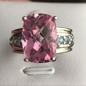 5.48 Carat Cushion Checkerboard Pink Topaz Ring